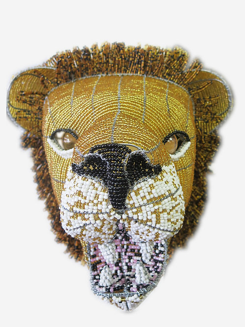 Wall Hanging Beaded Lion Head