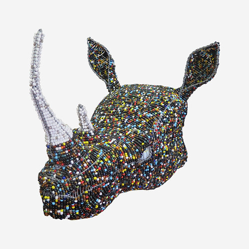 Colourful Beaded Rhino Head
