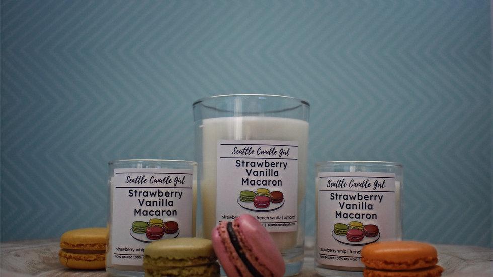Strawberry Vanilla Macaron Soy Candle