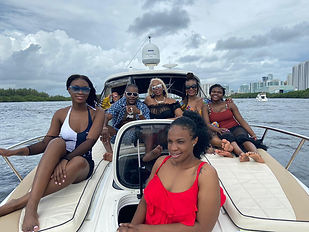 Stephanie and her family on the Flamingo Yacht