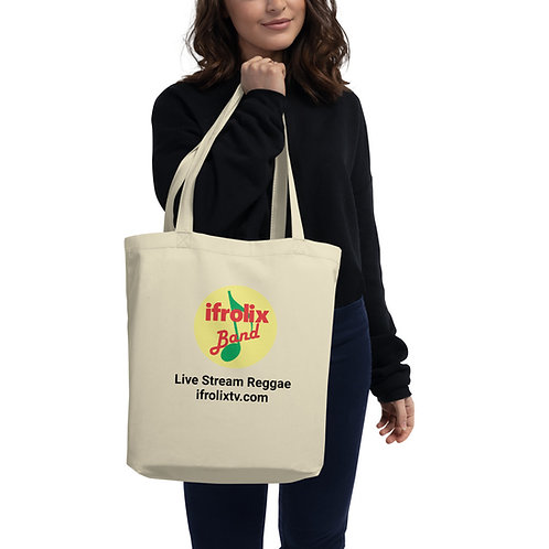 Beige Eco Tote Bag with Live Stream Reggae on Both Sides