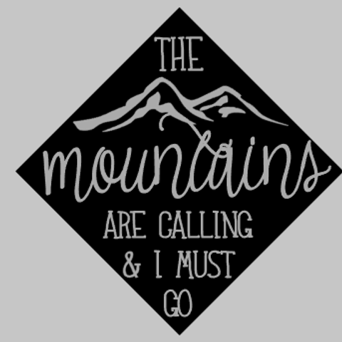The Mountains are Calling Graduation Hat Decal