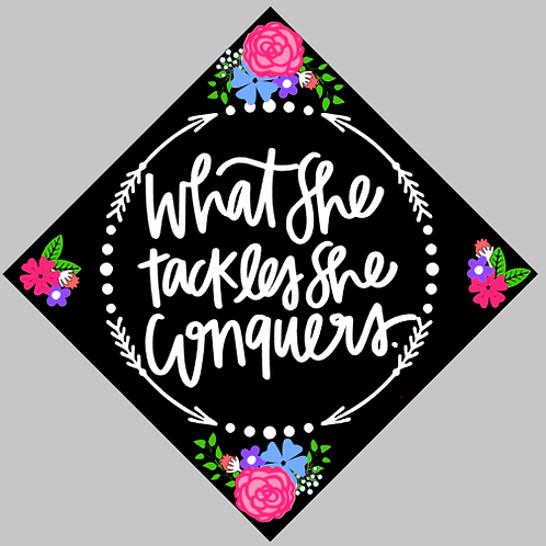 What She Tackles Graduation Hat Decal