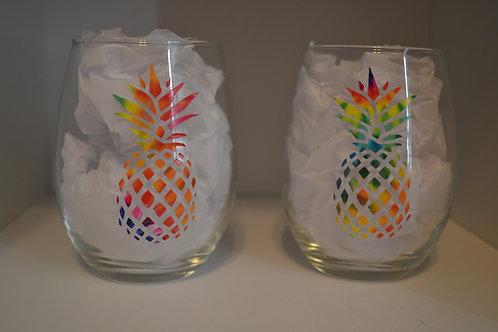 Tie Dye Pineapple Wine Glass