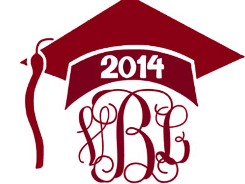 Graduation Cap Monogram Decal