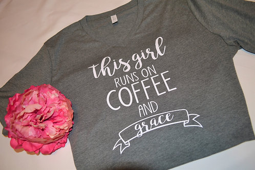 This Girl Runs on Coffee and Grace Tshirt