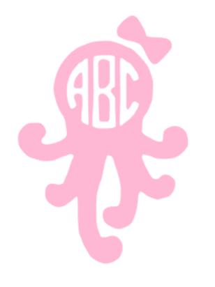 Octopus Monogram Decal