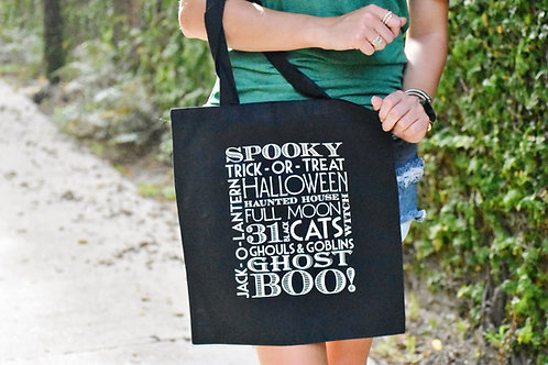 Glow in the Dark Trick or Treat Tote Bag