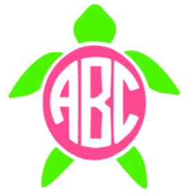 Turtle Monogram Decal