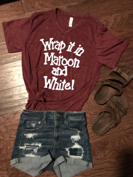 Wrap it in Maroon & White Vneck