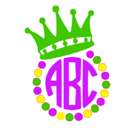 Mardi Gras Crown Monogram Decal