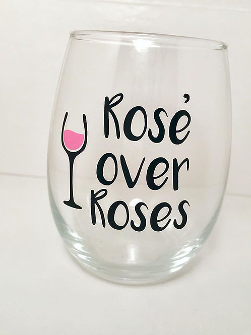 Rose over Roses Wine Glass