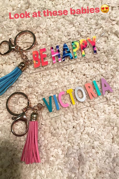 Be Happy tie dye Keychain
