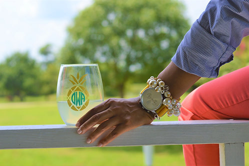 Gold Pineapple Monogram Wine Glass