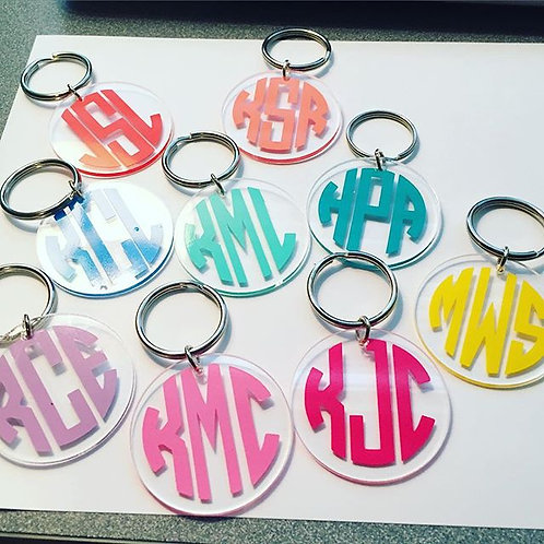 Circle Monogram Keychain