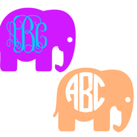 Elephant Monogram Decal