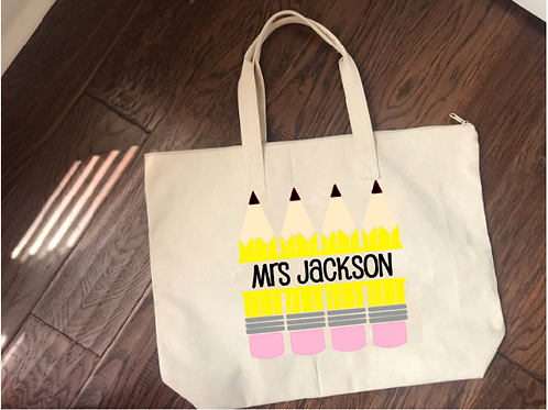 Teacher Tote Bag with Pencil Design
