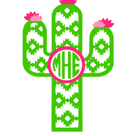 Cactus Monogram Decal