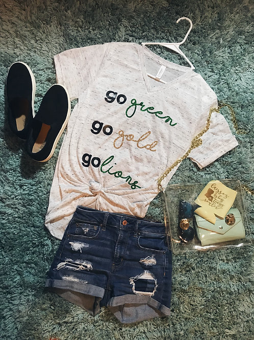 Go green, go gold tee