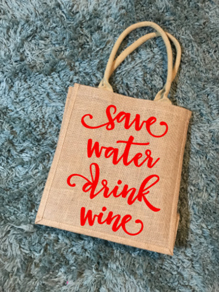 Save Water, Drink Wine wine tote bag