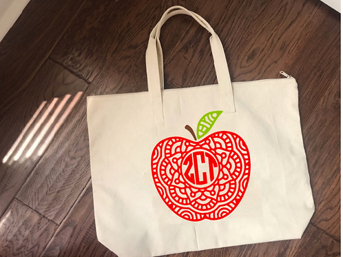 Teacher Tote Bag with Apple Design