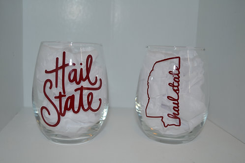 Hail State Wine Glass