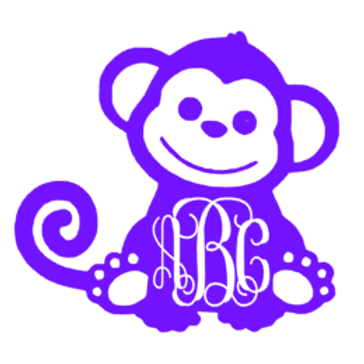 Monkey Monogram Decal