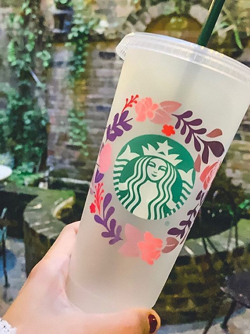 Floral Wreath Reusable Cold Cup