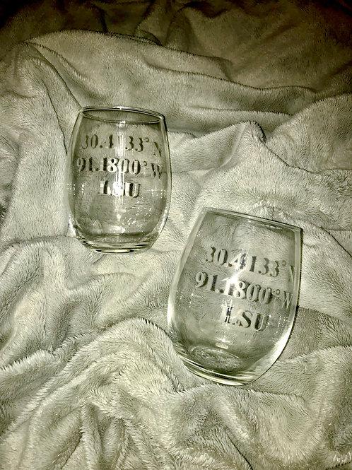 Custom Coordinates etched Wine Glass