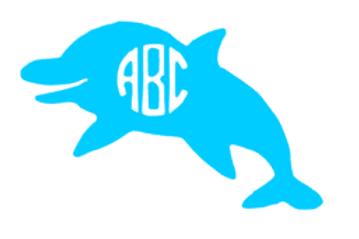 Dolphin Monogram Decal