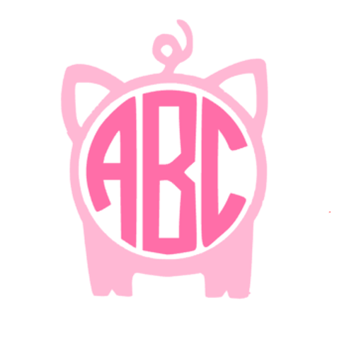 Pig Monogram Decal