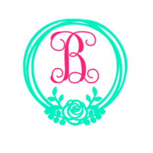 Floral Circle Initial Decal