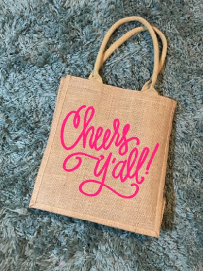 Cheers Yall wine tote bag