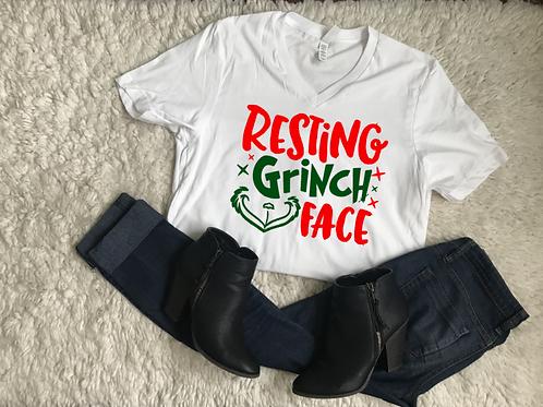 Resting Grinch Face Vneck Tshirt