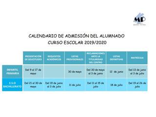 Calendario de admisión Curso 2019-2020