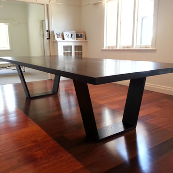 custom made dining table in a dark brown finish for in a Toowoomba residence