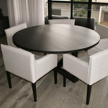 custom made dining table solid American oak in a black Japan finish