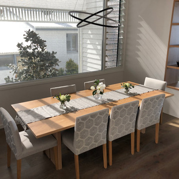 custom made dining table in white wash finish for in a Shelly Beach residence
