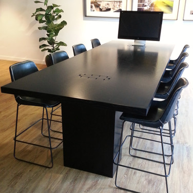 custom made meeting table in black Japan finish for Mirvac in Brisbane