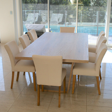NOOSA RESIDENCE dining table, solid American white oak in a lime wash finish