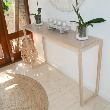 NOOSA RESIDENCE hall table, solid American white oak in a lime wash finish