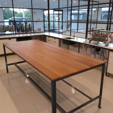 custom made table in a clear hardwaxoil finish from Whittle Waxes with steel frame for Padre Coffee Noosa