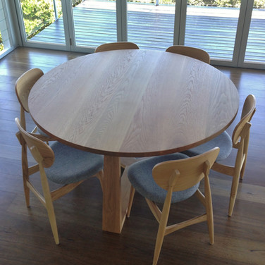 custom made dining table solid American oak in a clear finish