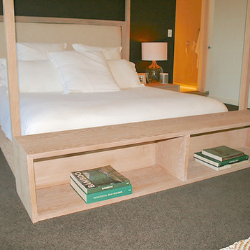 NOOSA RESIDENCE bed-end, solid American white oak in a lime wash finish