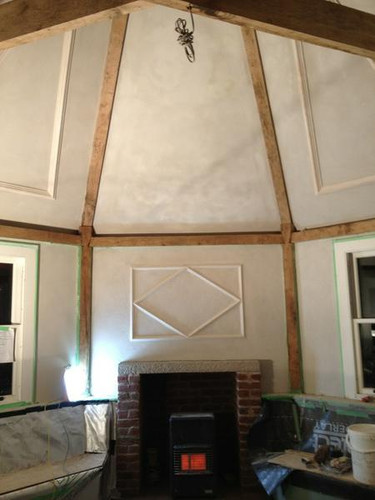 Lime plaster on a traditional heritage building.