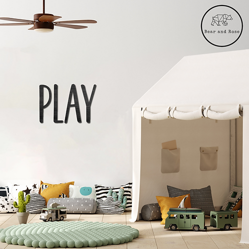 """Wooden """"PLAY"""" Wall Plaque"""