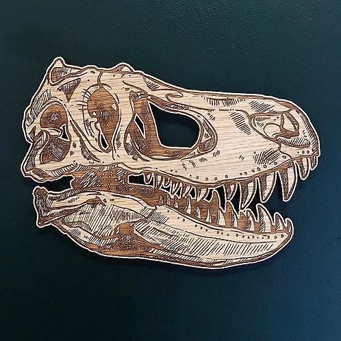 T-Rex Head - Oak Wall Art