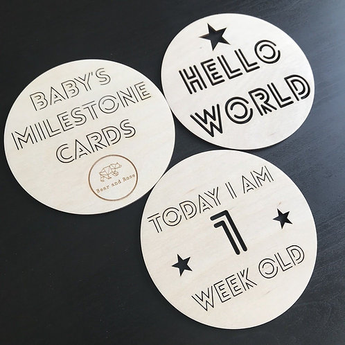 Wooden Milestone Cards (Standard Pack of 15)