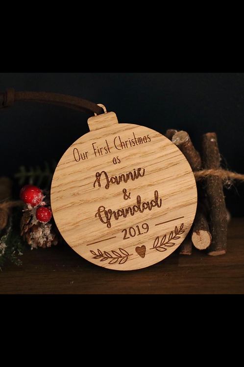 "Personalised ""First Christmas as..."" Bauble"