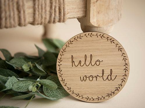 """Hello World"" Wreath Disc - Wooden Disc"